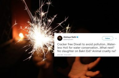 Diwali, Diwali 2017, firecrackers, firecrackers ban, firecrackers ban in delhi, crackers ban, crackers ban in delhi ncr, fireworks, fireworks ban, supreme court, supreme court ban, Muslim, communal, communalism, beef ban, bakraeid, ban on slaughter, noise pollution, air pollution, air ambient quality, cremations, Twitter, Twitter reactions, Vir Das, Sir ravindra Jadeja
