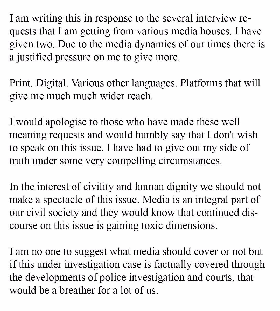 Hrithik Roshan's statement