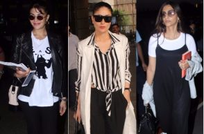Kareena Kapoor, Jacqueline Fernandez, Sonam Kapoor at the airport