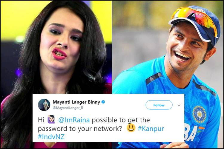 Mayanti Langer asks for Suresh Raina's 'Wi-Fi' password, Twitterati respond with hilarious suggestions!