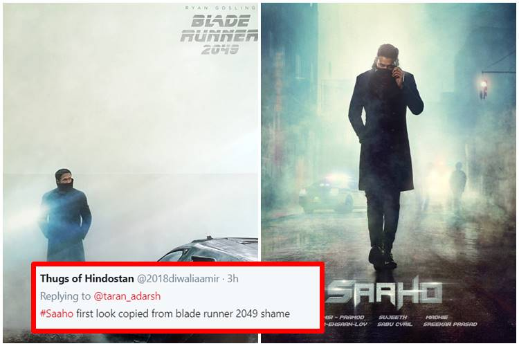 Saaho poster: Tweeps feel Prabhas' look is a rip-off of Ryan Gosling's Blade Runner 2049