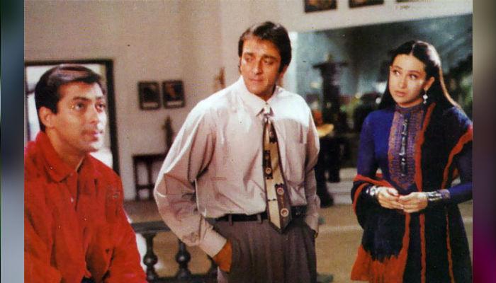 Salman Khan, Sanjay Dutt and Karisma Kapoor in Chal Mere Bhai