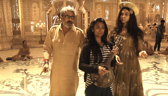 Sanjay Leela Bhansali, Kruti Mahesh, and Deepika Padukone, during Deewani Mastani shoot