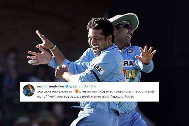 Sachin Tendulkar tweets 'ulta' text to wish Virender Sehwag on his 39thbirthday!