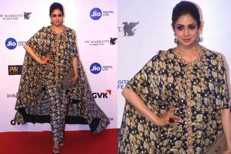 MAMI 2017: Sridevi again makes a fashion blunder, wears a 'bedsheet' thistime!