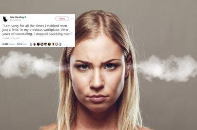 harassment, sexual harassment, Kate Harding, Kate Harding Twitter, women, women at workplace, victim blaming, asking for it, stabbing, stabbing men, Twitter hashtag, Trending, Twitter, viral Tweet, Twitter thread, sexual assault
