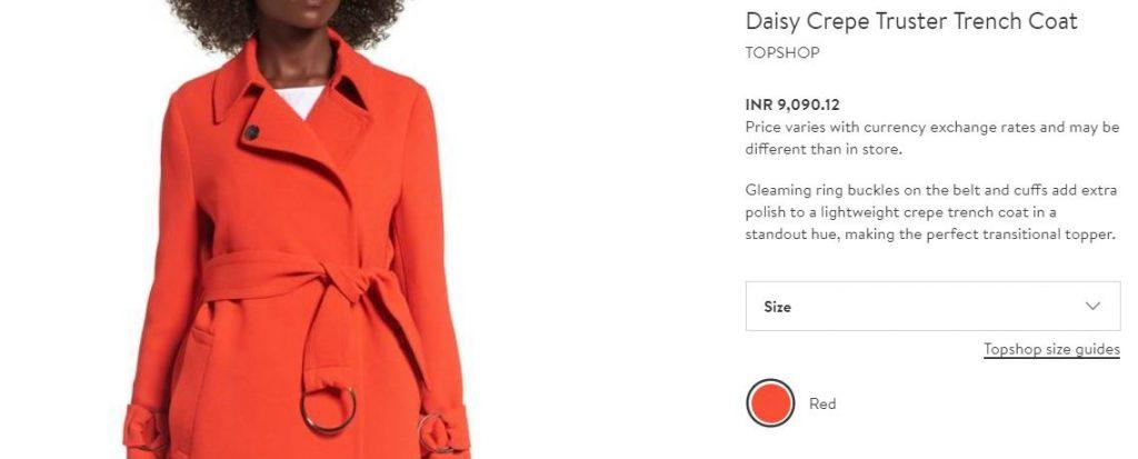 Topshop orange trench coat