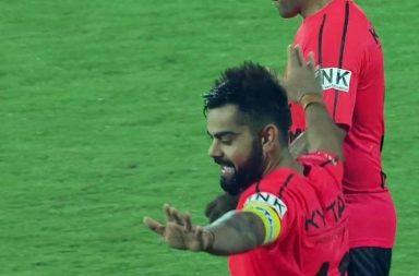 Virat Kohli Bhangra, Virat Kohli dance, Virat Kohli dancers on the field, Virat Kohli celebration, Virat Kohli goal, All Hearts FC vs All Stars FC, Celebrity Classico, Virat Kohli football
