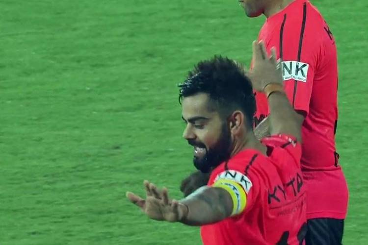 Virat Kohli entertains the crowd, does 'Bhangra' after scoring goal in extra time — WatchVideo
