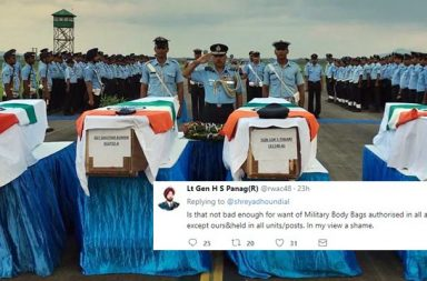 IAF Soldiers, Indian Army, Indian government, Press Information Bureau, PIB, Ministry of Defence, Indian Armed Forces, Army, Indian Soldiers, Military Honor, Cardboard boxes, wrapped in cardboard boxes, body bags, Lt. Panag, Lt Gen H S Panag, Captain Amarinder Singh, Chief Minister of Punjab, CM of Punjab, Twitter, Nidhi Razdan, Barkha Dutt, Journalists, Twitter, social media, online debate, outrage, military body bag, US military body bag, coffin, funeral, martyr, Indian Air Force, IAF soldiers, Mi-17 helicopter, helicopter crash, Tawang, Arunachal Pradesh