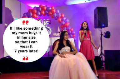 Sibling, Younger sibling, older sibling, girl, sibling rivalry, birthday, birthday party, Quinceanera,Latin tradition, viral video, roast, hilarious roast, 15th birthday, hispanic, Indian girls, hispanic-Indian