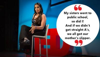 TED Talk, Maysoon Zayid, Maysoon Zayid Comedian, stand up comic, philanthropist, Arab, Arab American comedian, New York, New York Comedy Festival, Cerebral Palsy, comedian, women of color, disability, disabled women, actor, American actor, viral video, viral post, social media, TED X, TED, TED speaker