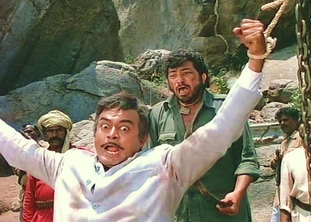 A still from Sholay starring Amjad Khan as Gabbar and Sanjeeb Kumar as Thakur, inuth.com