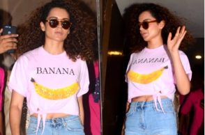 Kangana Ranaut in a River Island cropped T-Shirt