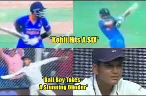 Virat Kohli hits six and ball boy takes a stunning blinder beyond boundary line - Watch Video