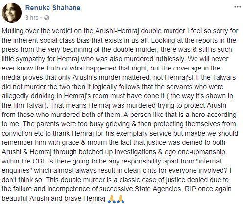 Renuka Shahane's Facebook post