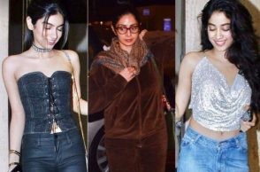 Sridevi with daughter Jhanvi and Khushi Kapoor
