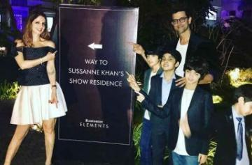 Hrithik Roshan joins Sussanne Khan at store launch with sons photo