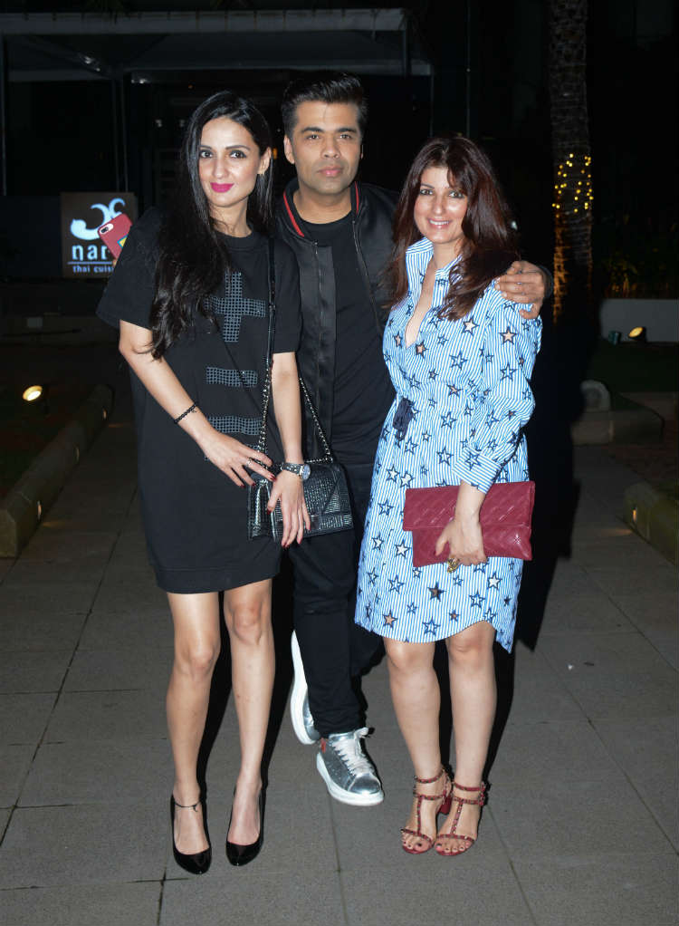 Twinkle Khanna with Karan Johar outside a restaurant