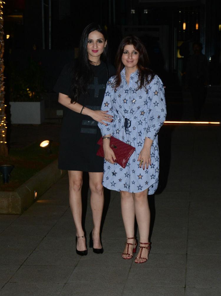 Twinkle Khanna outside a restaurant