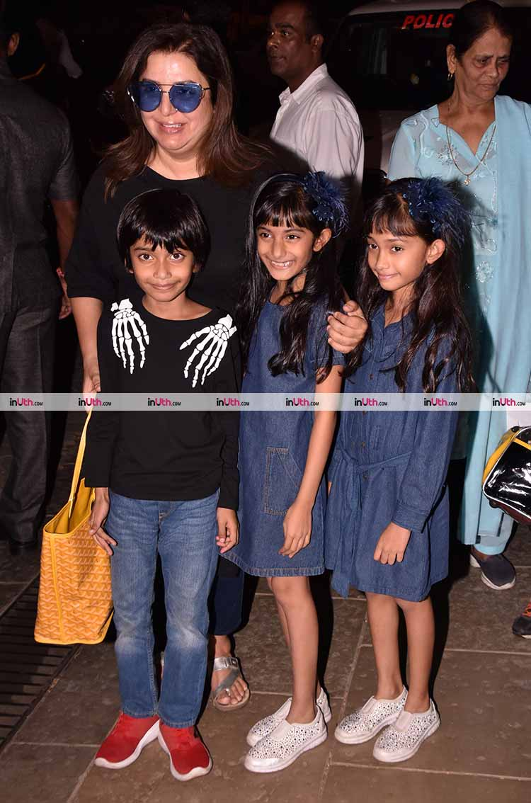Farah Khan with her triplets at Aaradhya Bachchan's birthday party