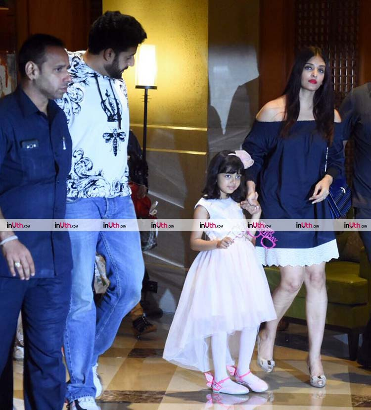 Aaradhya Bachchan reaches for her birthday party with family