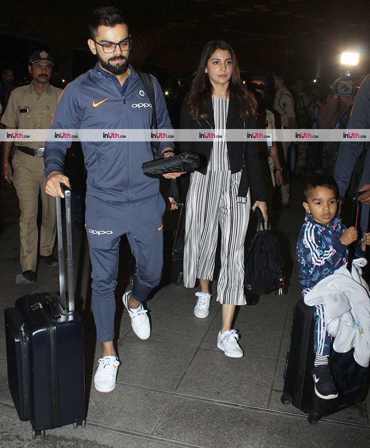 Anushka Sharma leaves for South Africa with Virat Kohli