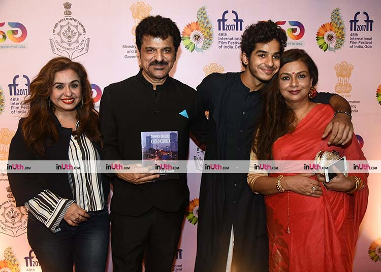 Ishaan Khatter with his parents at Beyond The Clouds premiere