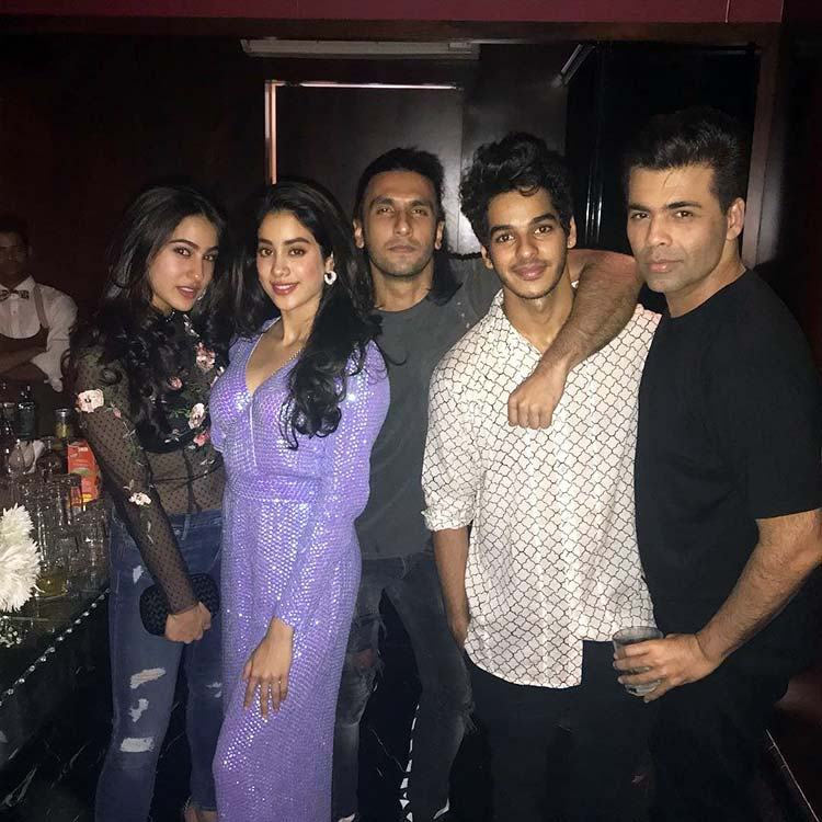 Karan Johar with the young Bollywood brigade at Deepika Padukone's Padmavati party