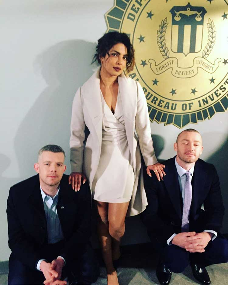 Priyanka Chopra in the sets of Quantico season 3 with Jake McLaughlin and Russell Tovey