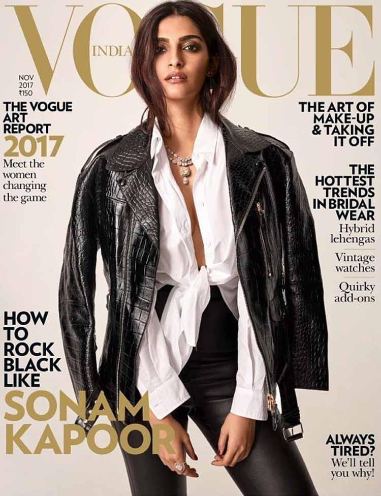 Sonam Kapoor on the November 2017 cover of Vogue magazine
