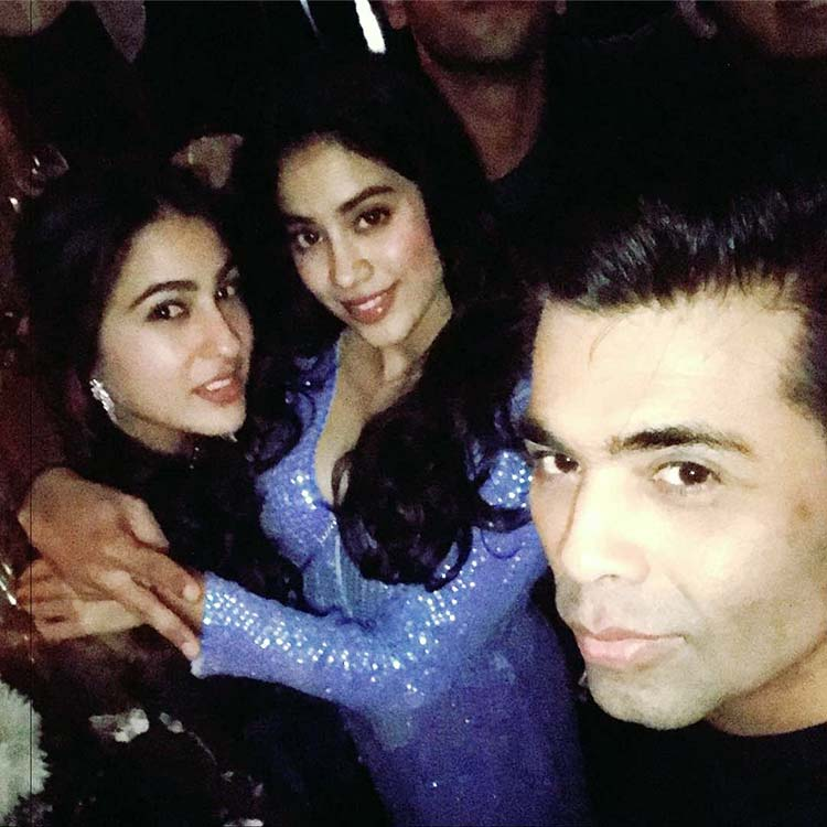 Karan Johar with Sara Ali Khan and Jhanvi Kapoor at Deepika Padukone's party