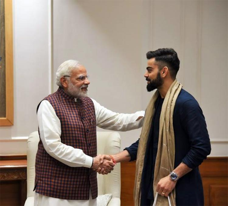 PM Narendra Modi with Virat Kohli