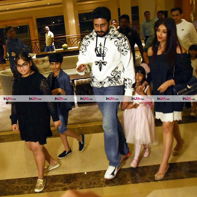 Abhishek and Aishwarya Bachchan with Aaradhya at her birthday party