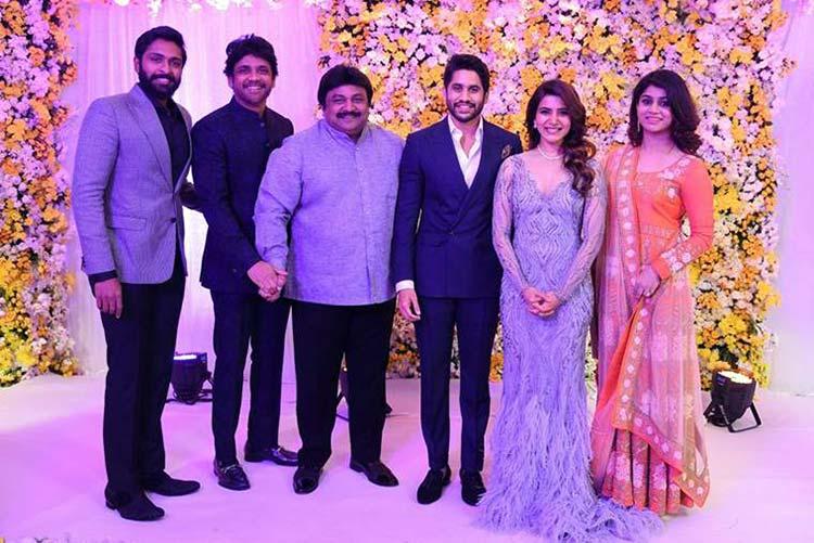 Actor Prabhu with son Vikram at Naga Chaitanya and Samantha Ruth's wedding reception