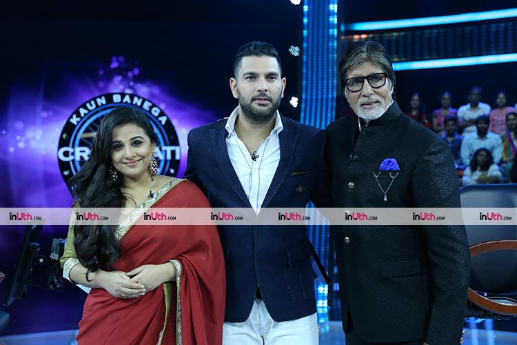 Amitabh Bachchan with Yuvraj Singh and Vidya Balan at KBC 9 finale