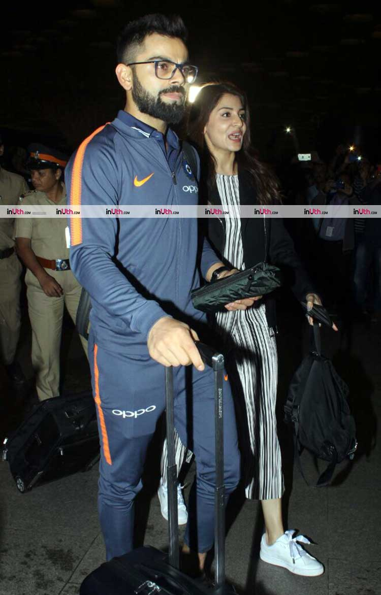 Anushka Sharma with husband Virat Kohli at Mumbai airport