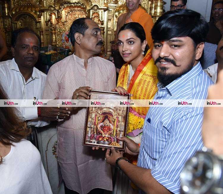 Deepika Padukone at Siddhivinayak temple on Tuesday noon