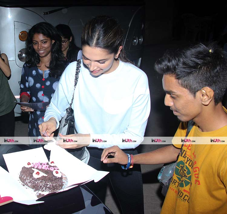 Deepika Padukone spotted celebrating 10-years of Bollywood with a fan