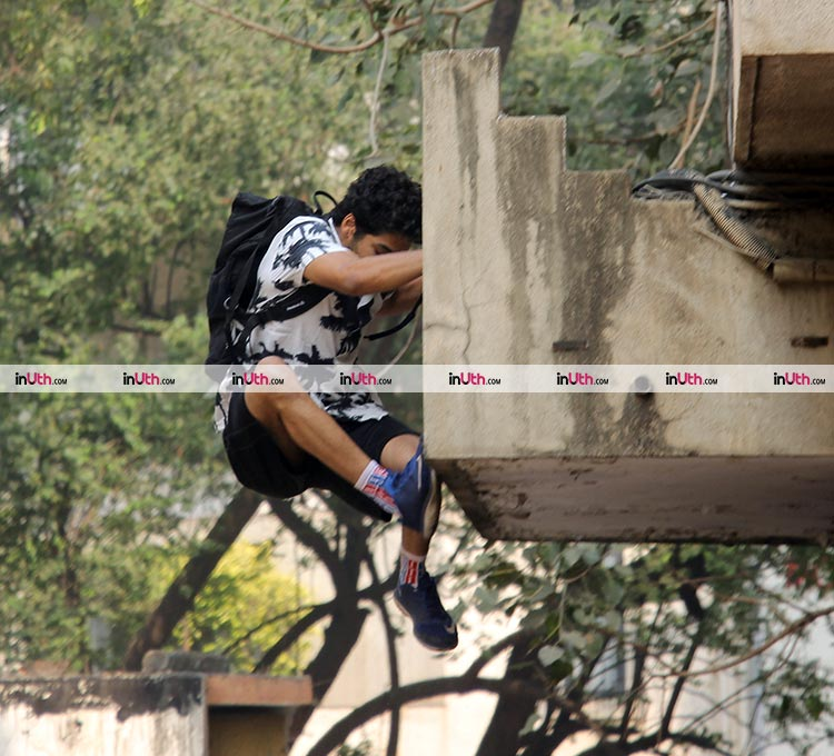 Ishaan Khatter spotted jumping off his gym building