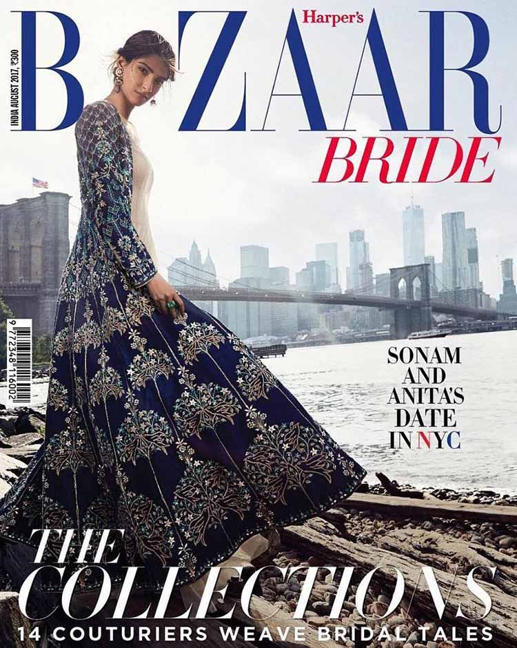 Sonam Kapoor on the cover of Harper's Bazaar Bride India August 2017 issue