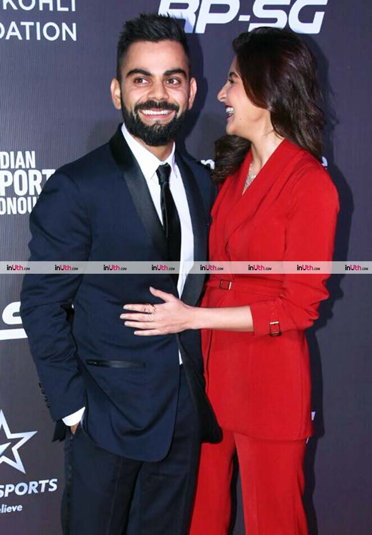 Virat Kohli and Anushka Sharma on the Indian Sports Honors 2017 red carpet