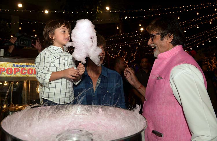 AbRam enjoying his candy floss at Aaradhya's birthday party