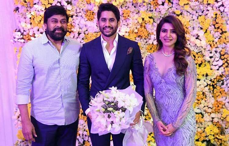 Megastar Chiranjeevi at Naga Chaitanya and Samantha Ruth Prabhu's wedding reception