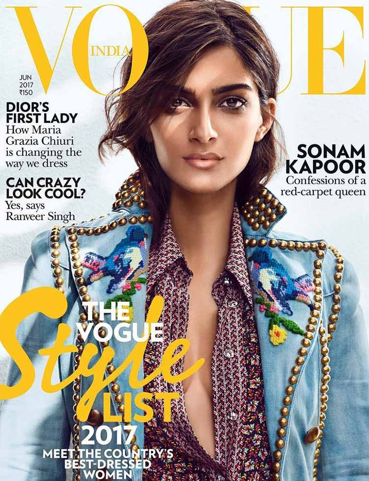 Sonam Kapoor on the June 2017 issue of the Vogue magazine