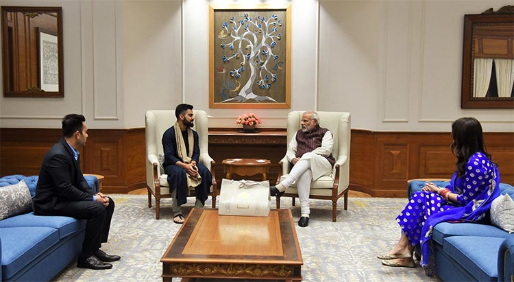 Virat Kohli and Anushka Sharma in conversation with Prime Minister