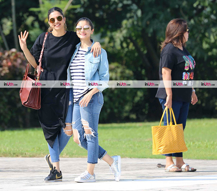 Deepika Padukone and Alia Bhatt with Farah Khan at Aliabug