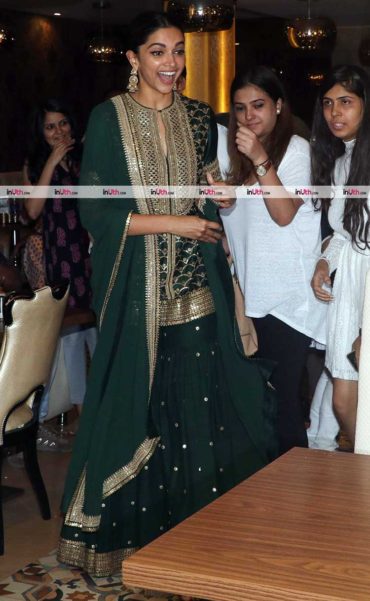 Deepika Padukone snapped during Padmaavat promotions at a restaurant in Juhu