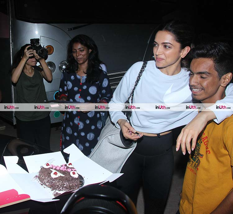 Deepika Padukone spotted with a fan outside Mehboob studios