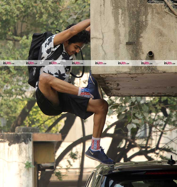 Ishaan Khatter performs a stunt off camera
